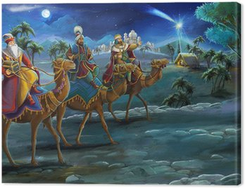 Obraz na Płótnie Ilustracja świętej rodziny i trzech króli