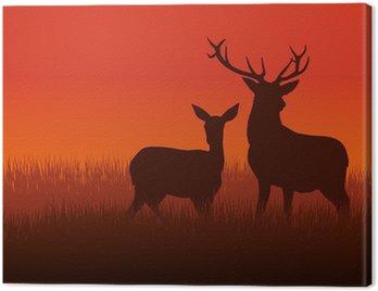 Obraz na Płótnie Ilustracja sylwetka jelenia i na łące DoE