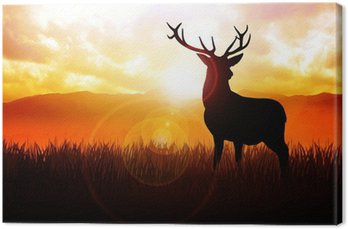 Ilustracja sylwetka jelenia na łące podczas wschodu