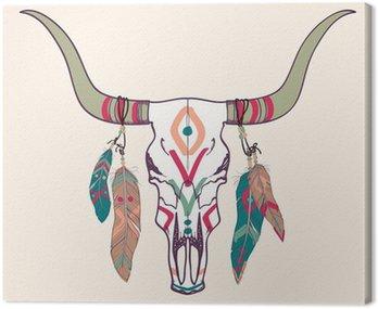 Ilustracja wektorowa z byka czaszki z piór