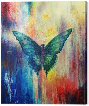 Obraz na Płótnie Ilustracja z motyla, zmieszane z medium, streszczenie kolor tła.
