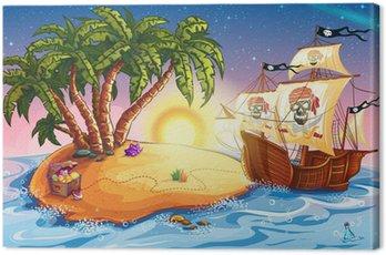 Ilustracja z wyspy skarbów i statek piracki