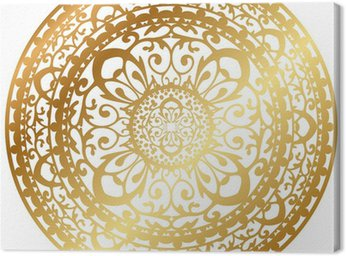Obraz na Płótnie Ilustracji wektorowych złota orientalnym dywanie / serwetki