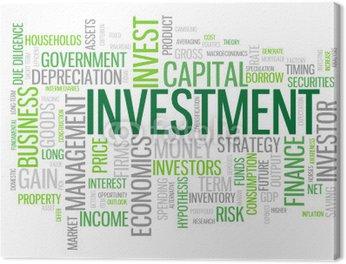 """Obraz na Płótnie """"""""""""Inwestycja"""""""" tag cloud (biznes finanse gotówki pieniądze zysk banku)"""""""