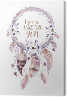 Obraz na Płótnie Izolowane Akwarela dekoracji artystycznej Dreamcatcher. Boho feath