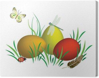 Jajka wielkanocne, natura, owady, trawa, motyl, trzy