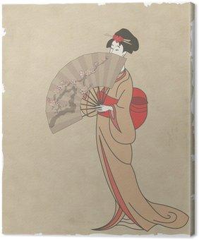 Obraz na Płótnie Japonka z wachlarzem na starym papierze