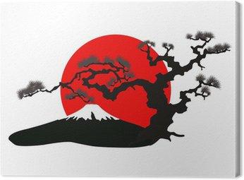 Obraz na Płótnie Japoński krajobraz sylwetka wektor