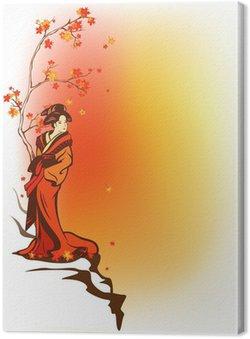 Obraz na Płótnie Japoński motywu tła jesień z gejsza