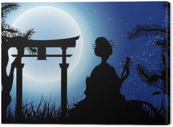 Obraz na Płótnie Japoński noc, sylwetka gejsza z Shamisen
