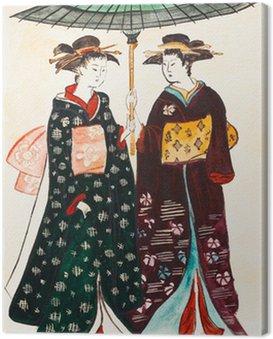 Obraz na Płótnie Japońskie młode kobiety w tradycyjnych ubrania geishas