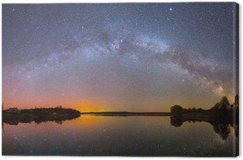 Obraz na Płótnie Jasny Droga Mleczna nad jeziorem w nocy (zdjęcie panoramiczne)