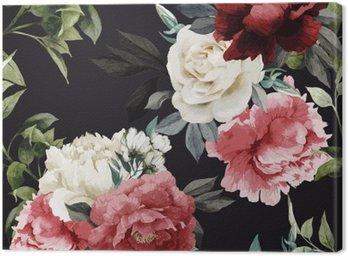 Obraz na Płótnie Jednolite kwiatowy wzór z różami, akwarela. Vector illustrat