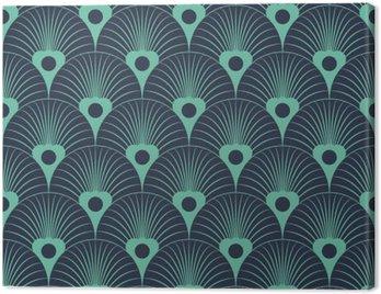 Obraz na Płótnie Jednolite niebieski neon art deco przykrywający kwiatowy wzór wektor