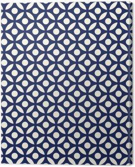 Obraz na Płótnie Jednolite porcelany indygo niebieski i biały arabski okrągłe wektor wzór