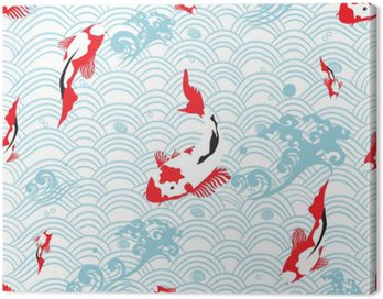 Obraz na Płótnie Jednolite wzór orientalne tekstury z karp koi; ilustracji wektorowych