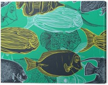 Obraz na Płótnie Jednolite wzór z kolekcji tropikalnych zestaw fish.Vintage ręcznie rysowane morskiego fauna.Vector ilustracji w linii sztuki style.Design na plaży latem, dekoracje.