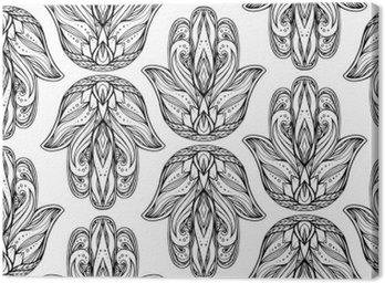 Obraz na Płótnie Jednolite wzór z konturu ilustracji Hamsa z boho wzór. Ręka Buddy. Wektor tło do tapet, owijki, drukowanie na koszulkach i tekstyliów. Maswerku ręcznie rysowane wzór