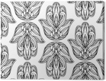 Jednolite wzór z konturu ilustracji Hamsa z boho wzór. Ręka Buddy. Wektor tło do tapet, owijki, drukowanie na koszulkach i tekstyliów. Maswerku ręcznie rysowane wzór