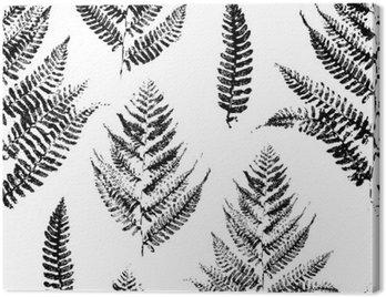Obraz na Płótnie Jednolite wzór z nadrukami farby liści paproci