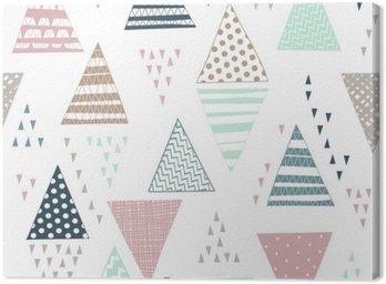 Obraz na Płótnie Jednolite wzór z ozdobnymi ręcznie rysowane trójkąty.