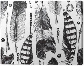 Obraz na Płótnie Jednolite wzór z ręcznie rysowane piór.