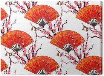 Obraz na Płótnie Jednolite wzór z wentylatorem Japonia japoński i Sakura Cherry Blossom wektora tle. Idealne do tapety, wzór wypełnienia tła strony internetowej, na powierzchni tekstury, tekstylia