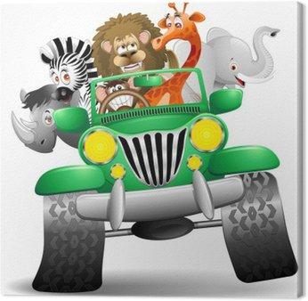 Obraz na Płótnie Jeep z kreskówki dzikich zwierząt dzikich zwierząt sawanny na jeep
