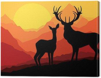 Obraz na Płótnie Jeleń rodziny w górach dzikiego krajobrazu przyrody tle