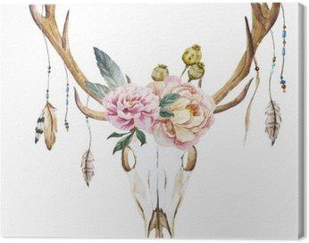 Obraz na Płótnie Jelenie akwarela łeb z polnych kwiatów