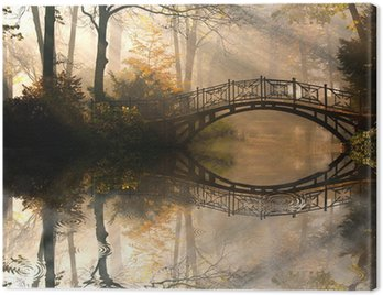 Obraz na Płótnie Jesień - Stary most w parku jesienią misty
