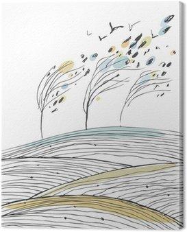 Obraz na Płótnie Jesienią krajobraz z drzewami i polami