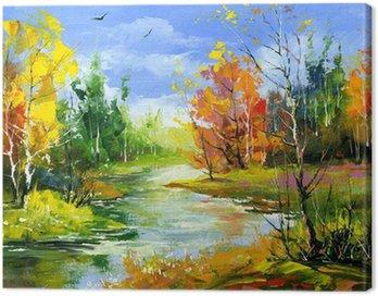 Obraz na Płótnie Jesienią krajobraz z rzeką drewna