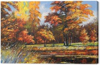 Obraz na Płótnie Jesienny krajobraz na brzegu rzeki