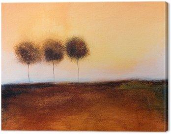 Obraz na Płótnie Jest to malarstwo abstrakcyjne z 3 drzew