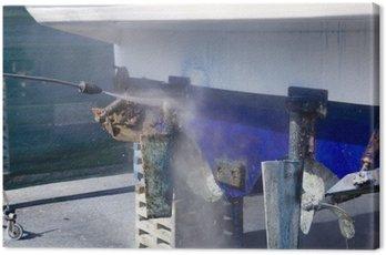 Obraz na Płótnie Kadłub łodzi woda sprzątanie myjka