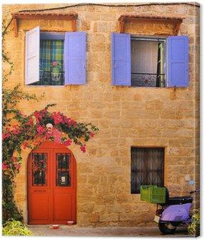 Obraz na Płótnie Kamienny dom w Starym Mieście w Rodos, Grecja