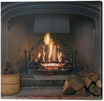 Obraz na Płótnie Kamienny kominek z zapaloną ryk ognia