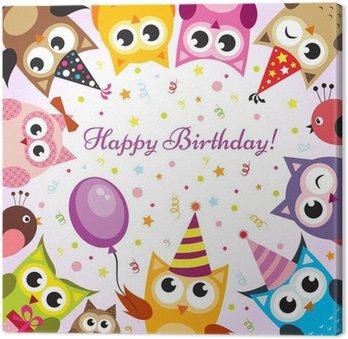 Obraz na Płótnie Kartka urodzinowa z sowy