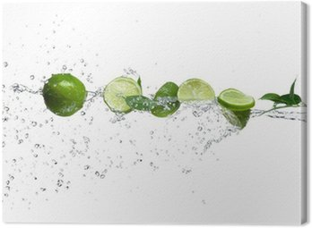 Obraz na Płótnie Kawałki wapna w plusk wody