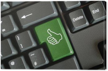 """Obraz na Płótnie """"Kciuki w górę"""" klawisz na klawiaturze"""