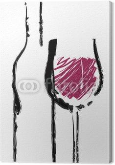Obraz na Płótnie Kieliszek do wina czerwonego z butelki