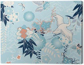 Obraz na Płótnie Kimono z dźwigiem w tle i kwiatami