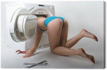 Obraz na Płótnie Kobieta mycia naprawy maszyny