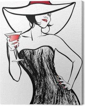 Obraz na Płótnie Kobieta w kapeluszu picia koktajl