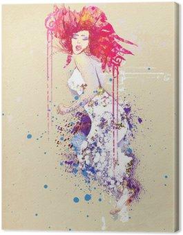 Obraz na Płótnie Kobieta w letniej sukience (rysunek)