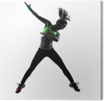 Obraz na Płótnie Kobieta wykonywania przydatności taniec zumba sylwetka skoki