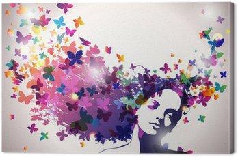 Obraz na Płótnie Kobieta z motylami we włosach.