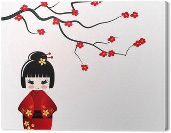Obraz na Płótnie Kokeshi lalki pod sakura oddział