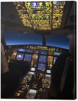 Obraz na Płótnie Kokpit samolotu w nocnym locie